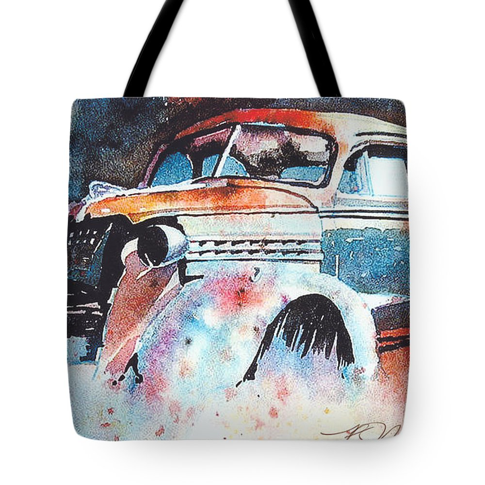 Chev Tote Bag featuring the painting StarlightChevy by Ron Morrison