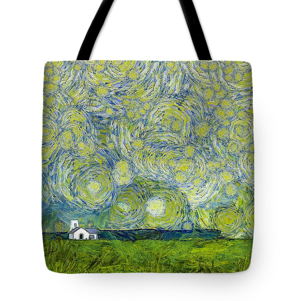 White Tote Bag featuring the photograph Starry Ballintoy Church by Nigel R Bell