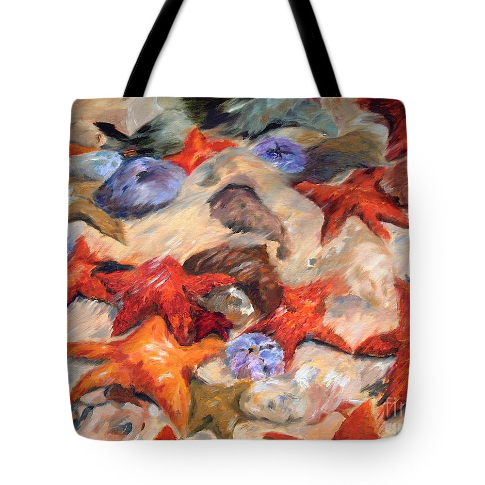 Painting Tote Bag featuring the painting Starry Sea by Enzie Shahmiri