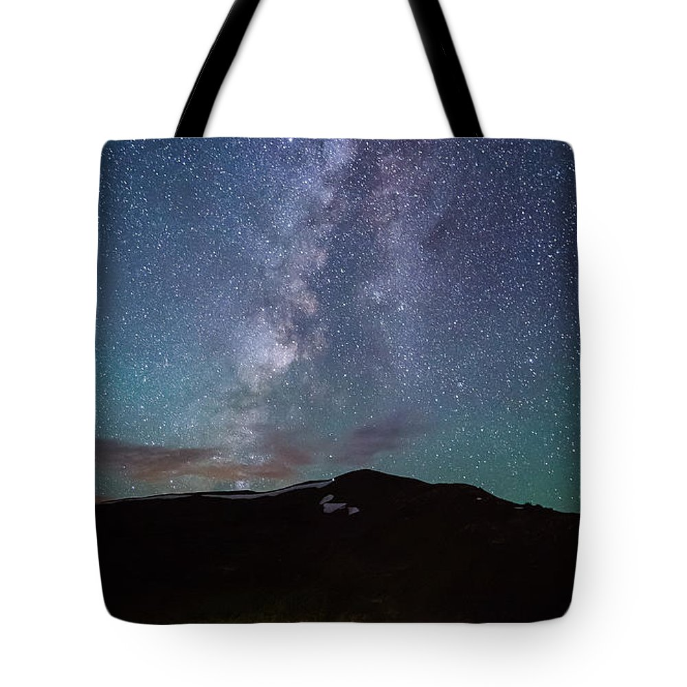 Landscape Tote Bag featuring the photograph Stars And Car Trails by Alison Hopkins