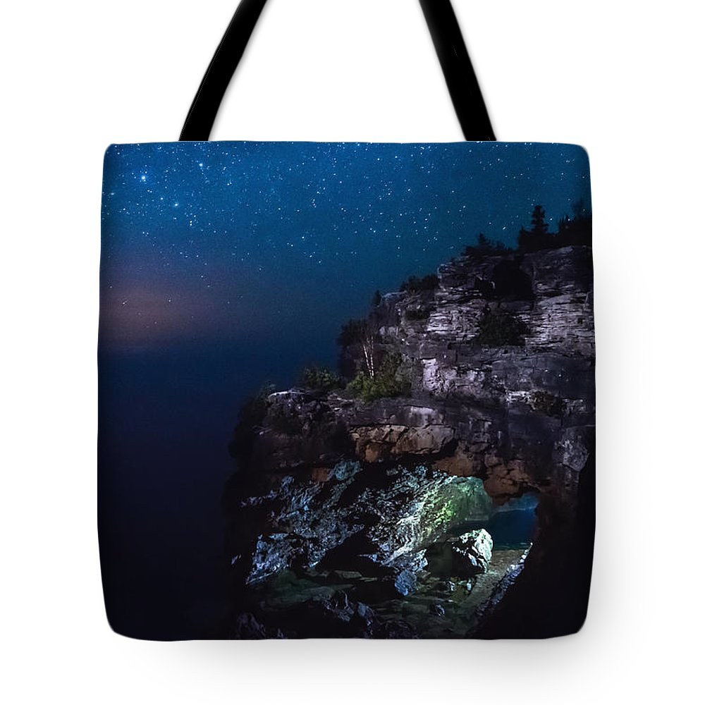Landscape Tote Bag featuring the photograph Stars Over The Grotto by Cale Best