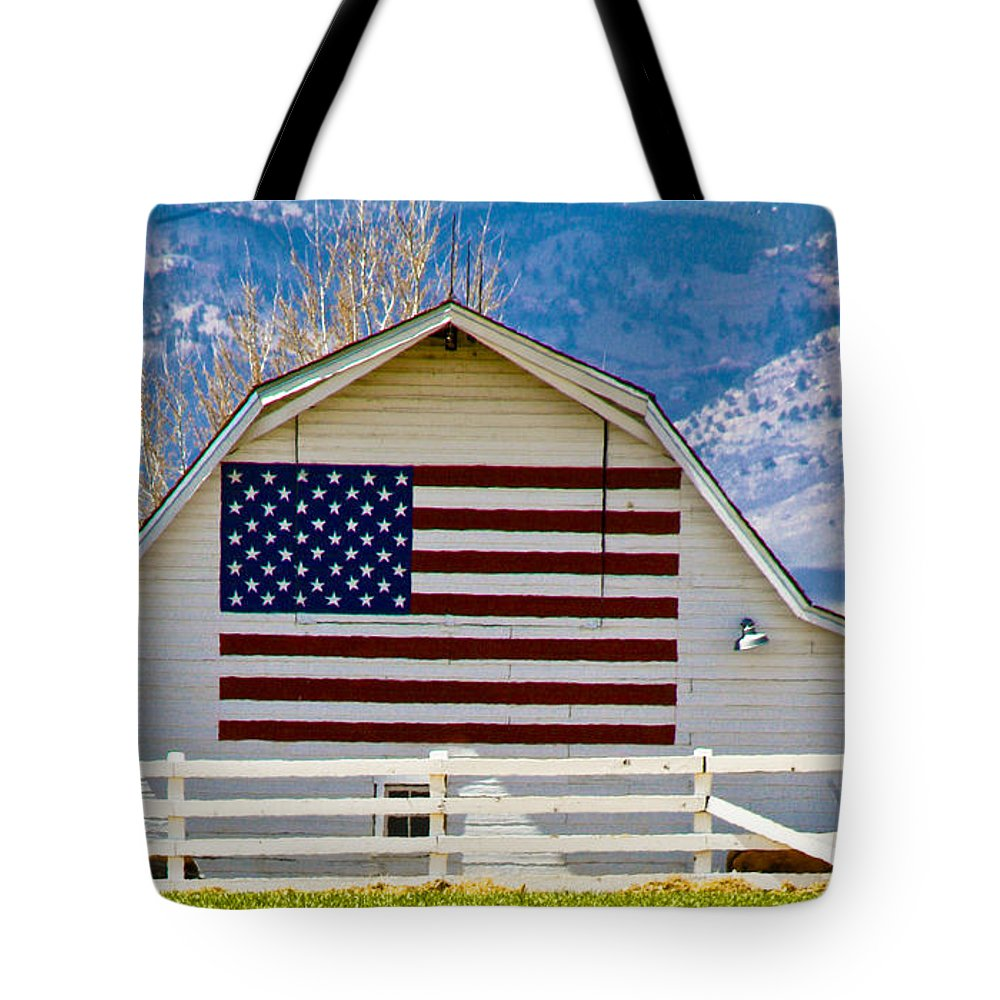 Barn Tote Bag featuring the photograph Stars Stripes And Barns by Marilyn Hunt