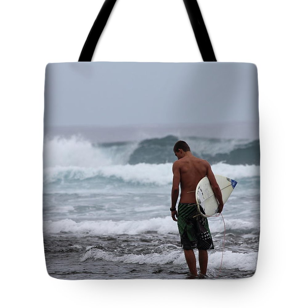 Waves Tote Bag featuring the photograph Starting Out by Mary Haber