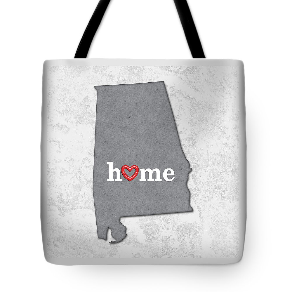 State Map Outline Alabama With Heart In Home Tote Bag For Sale By