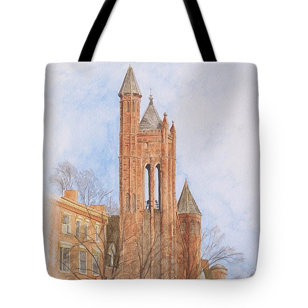Gothic Tote Bag featuring the painting State Street Church by Dominic White