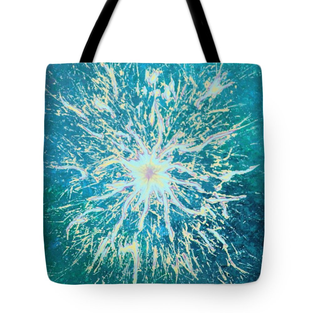 Acrylic Tote Bag featuring the painting Static by Todd Hoover