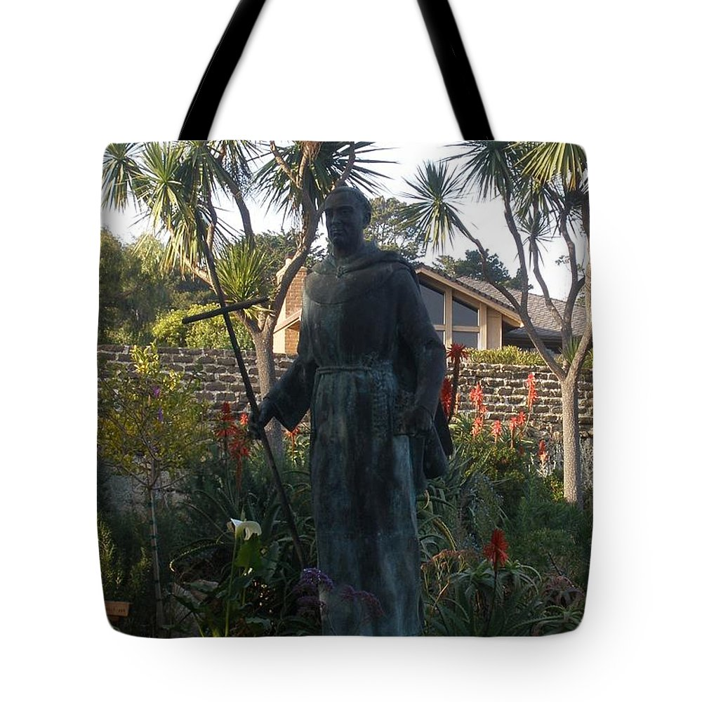 Statue Tote Bag featuring the photograph Statue At Mission Carmel by Jeanie Watson
