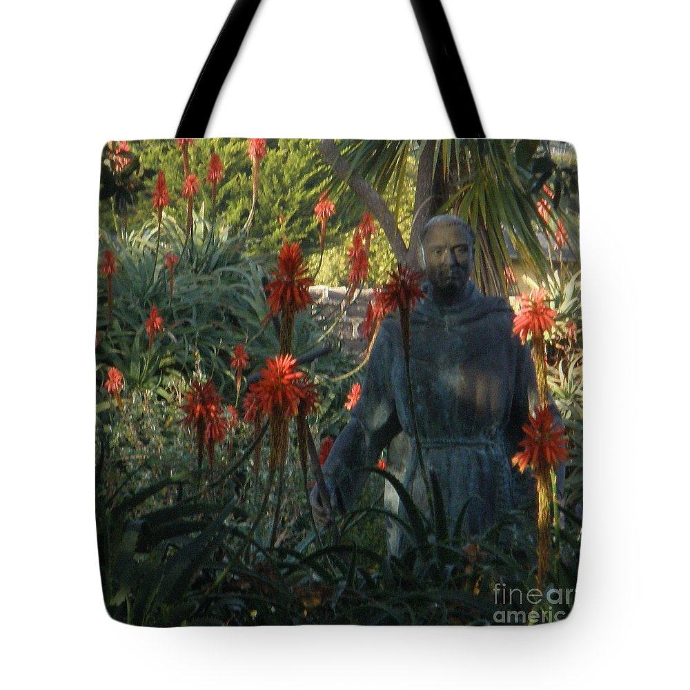 Statue Tote Bag featuring the photograph Statue In The Garden by Jeanie Watson