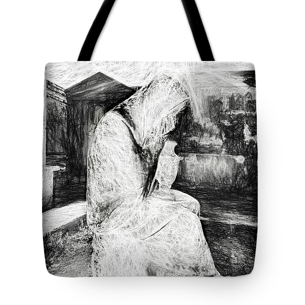 Cemetery Tote Bag featuring the photograph Statue Of Weeping Woman, Lafayette Cemetery, New Orleans In Black And White Sketch by Kay Brewer