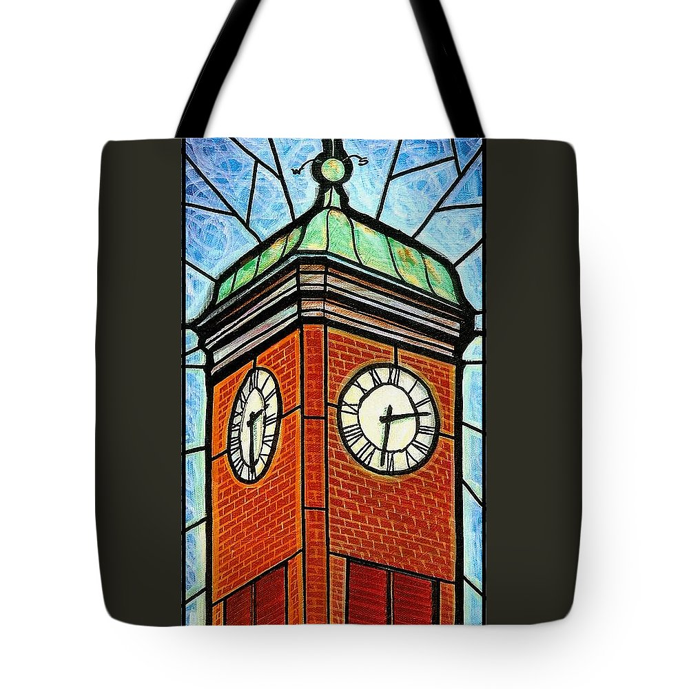 Clocks Tote Bag featuring the painting Staunton Clock Tower Landmark by Jim Harris
