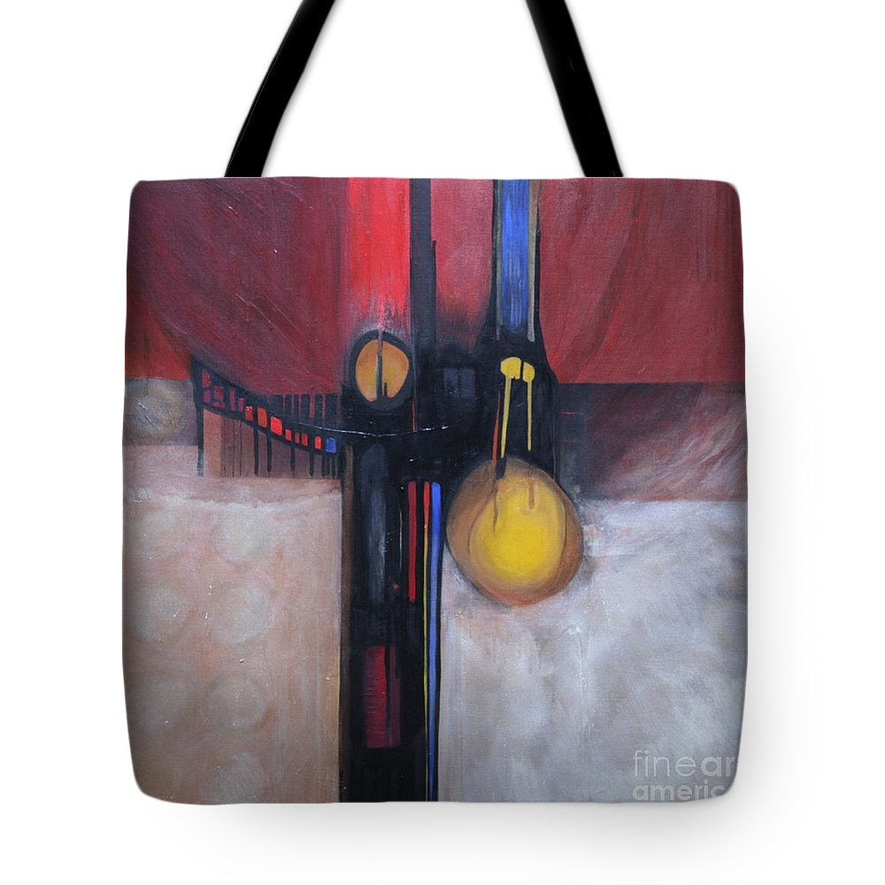 Abstract Tote Bag featuring the painting Stay True by Marlene Burns