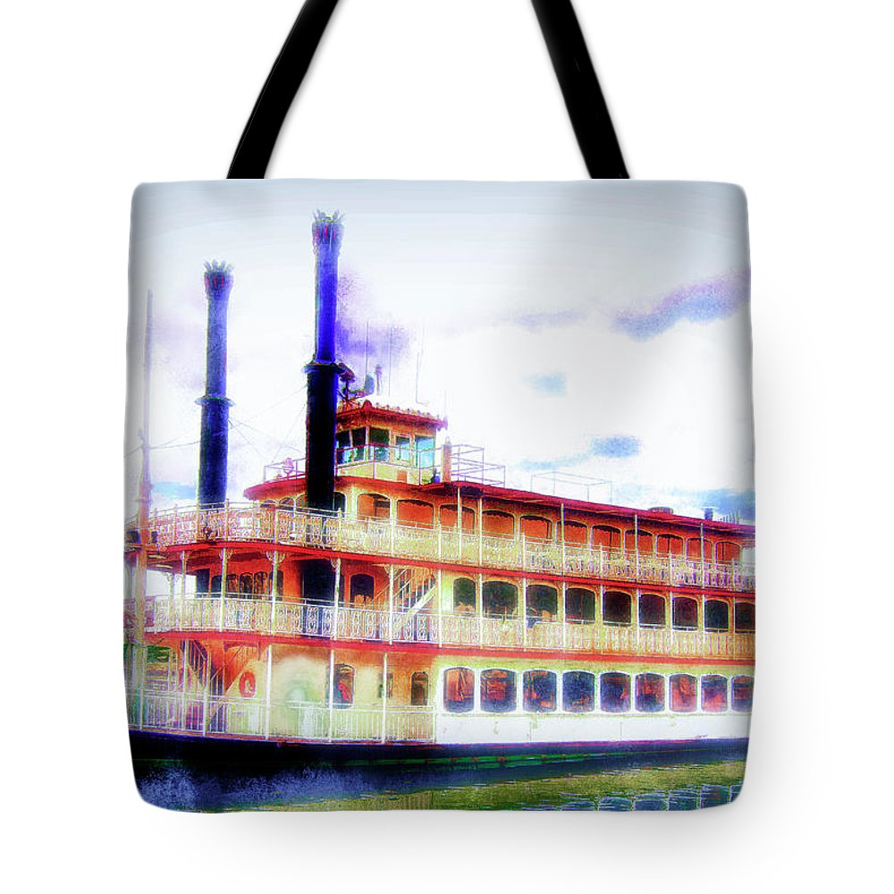 Steam Boat Tote Bag featuring the mixed media Steam Boat by Joseph Hollingsworth
