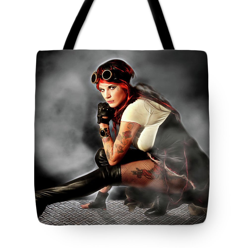 Steam Punk Tote Bag featuring the photograph Steam Mistress by Jon Volden