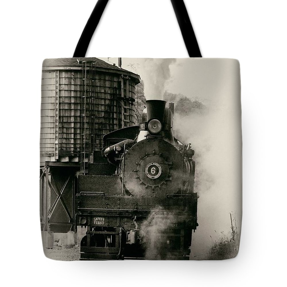 Antiquated Tote Bag featuring the photograph Steam Train by Jerry Fornarotto
