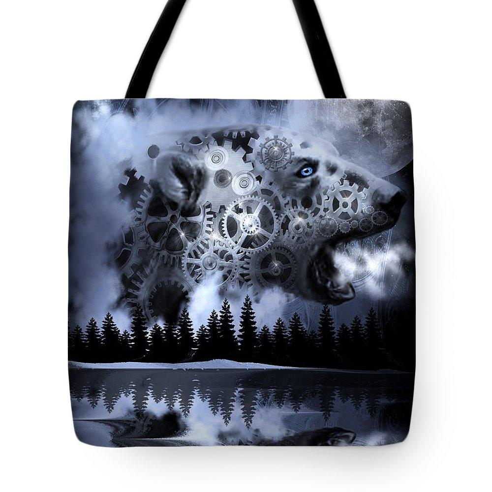 Digital Art Tote Bag featuring the digital art Steampunk Polar Bear Landscape by Artful Oasis