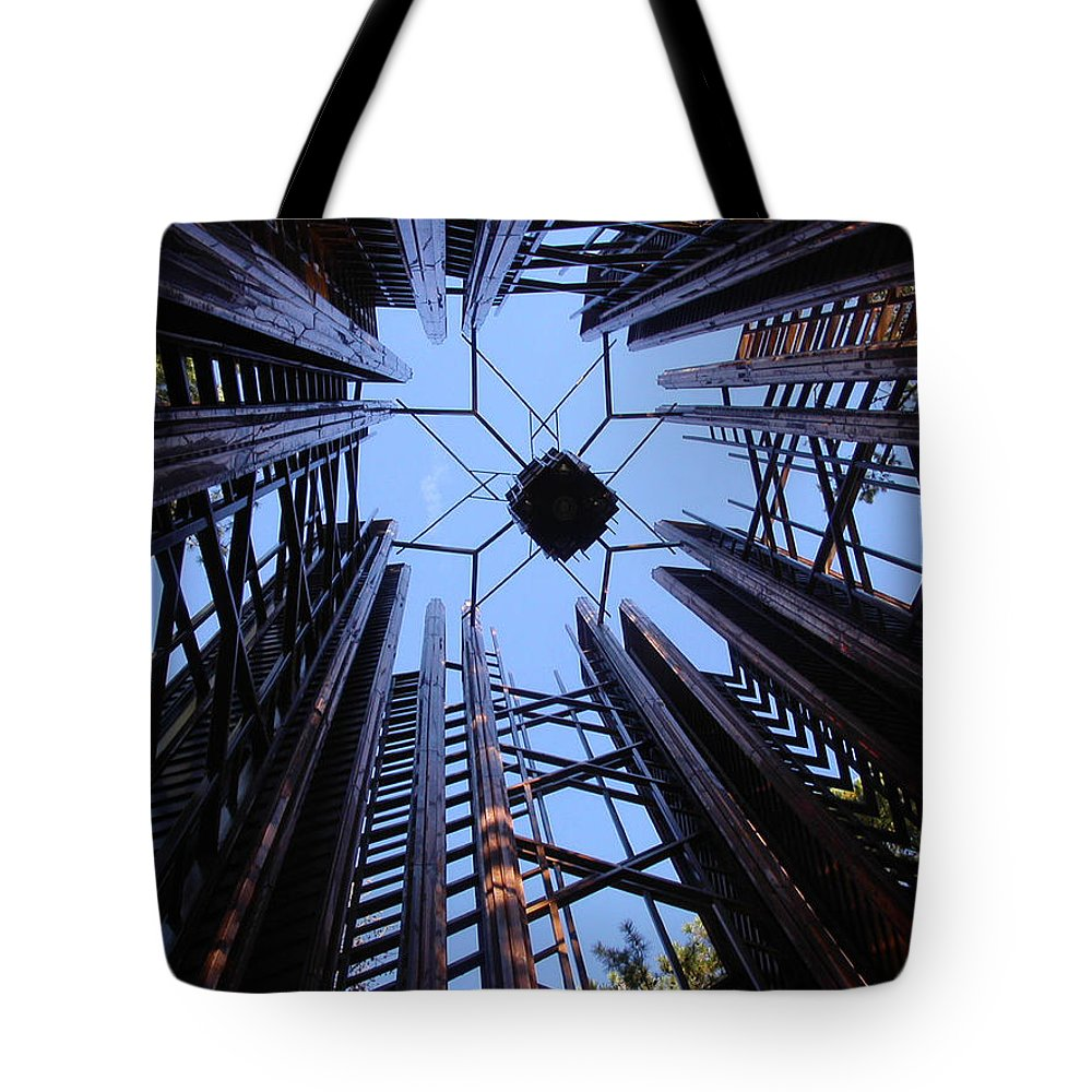 Steel Tote Bag featuring the photograph Steel And Sky by Anne Cameron Cutri