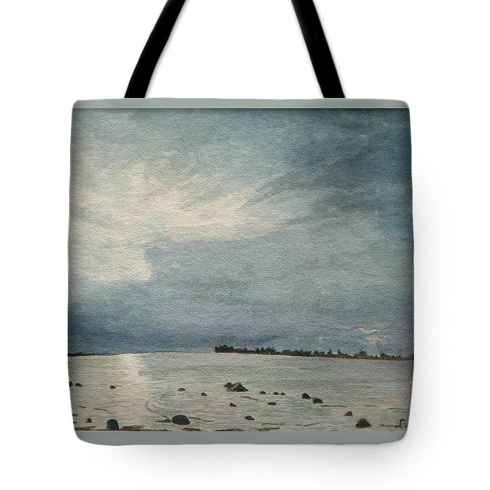 Landscape Tote Bag featuring the painting Steel Morning In Rock Garden by Lynn ACourt