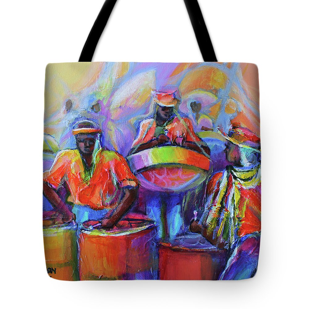 Abstract Tote Bag featuring the painting Steel Pan Carnival by Cynthia McLean