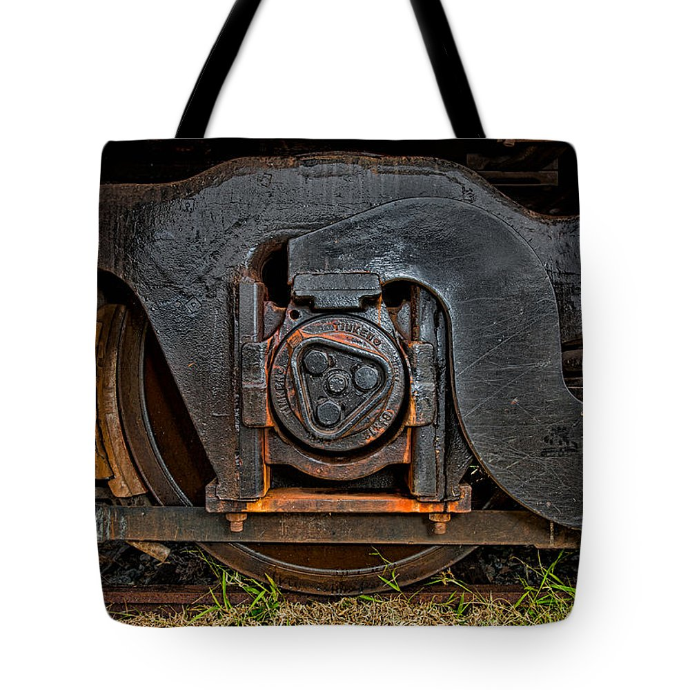 Train Tote Bag featuring the photograph Steel Wheel Of Progess by Christopher Holmes