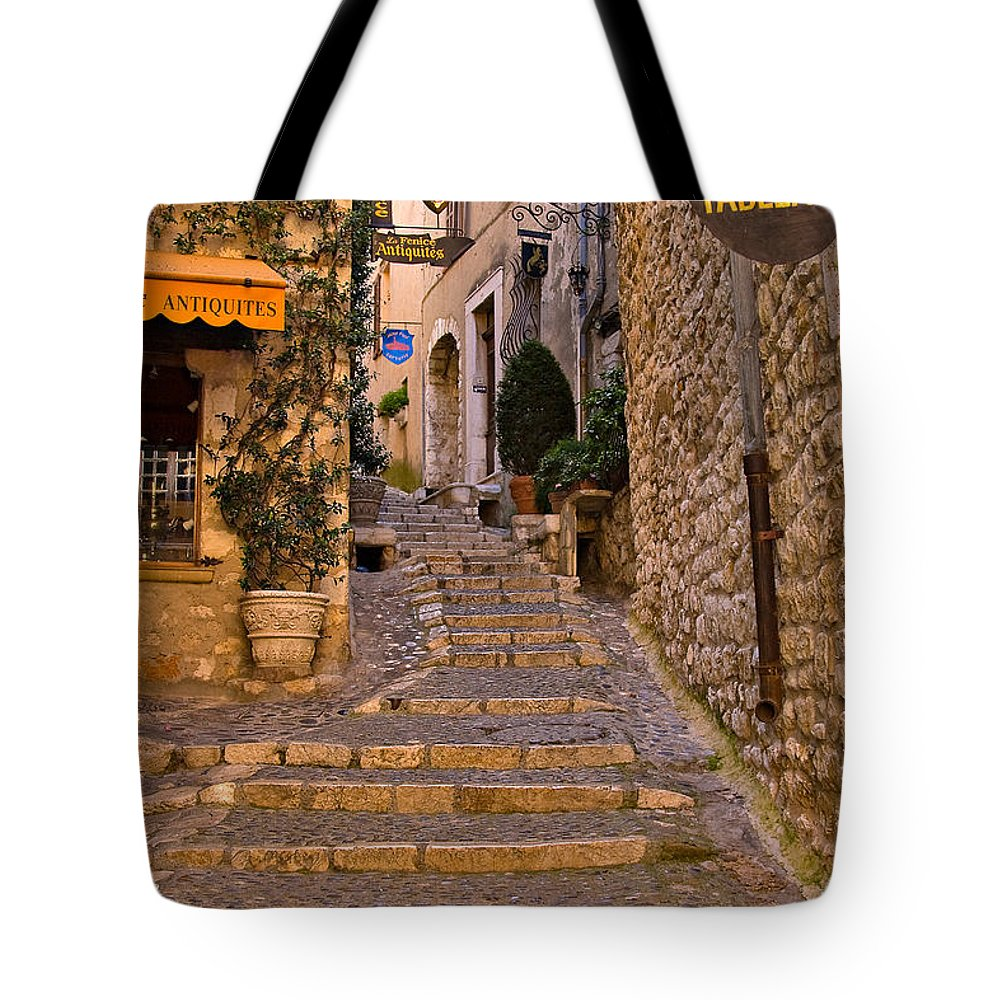 Travel Tote Bag featuring the photograph Steep Street In St Paul De Vence by Louise Heusinkveld