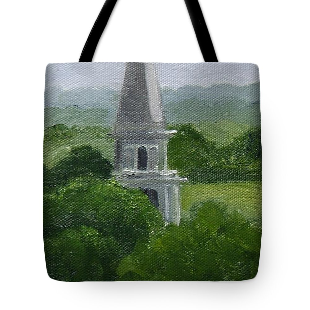 Steeple Tote Bag featuring the painting Steeple by Toni Berry