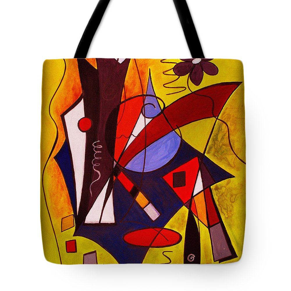 Abstract Tote Bag featuring the painting Step Lively Now by Ruth Palmer