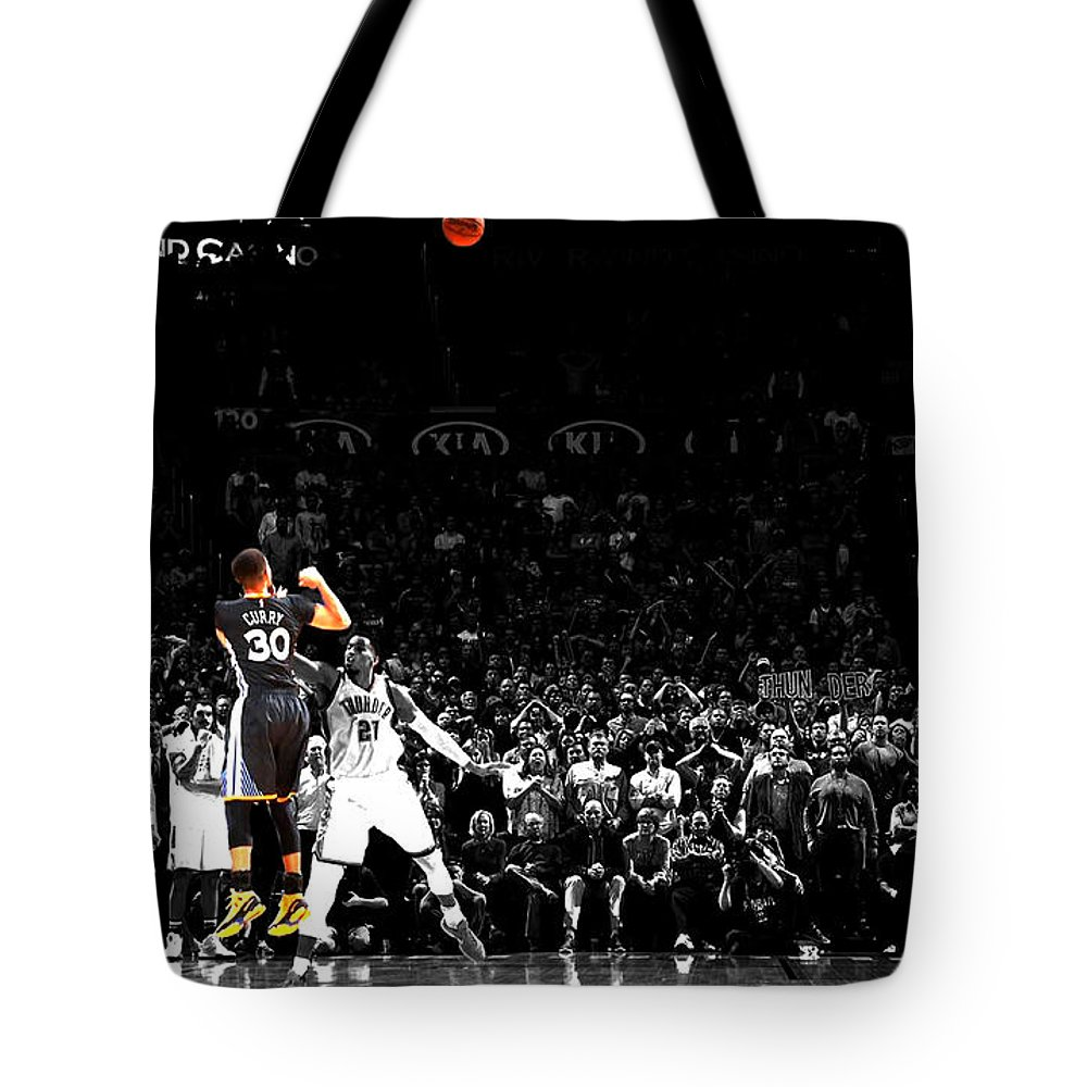 Stephen Curry Tote Bag featuring the mixed media Steph Curry Its Good by Brian Reaves