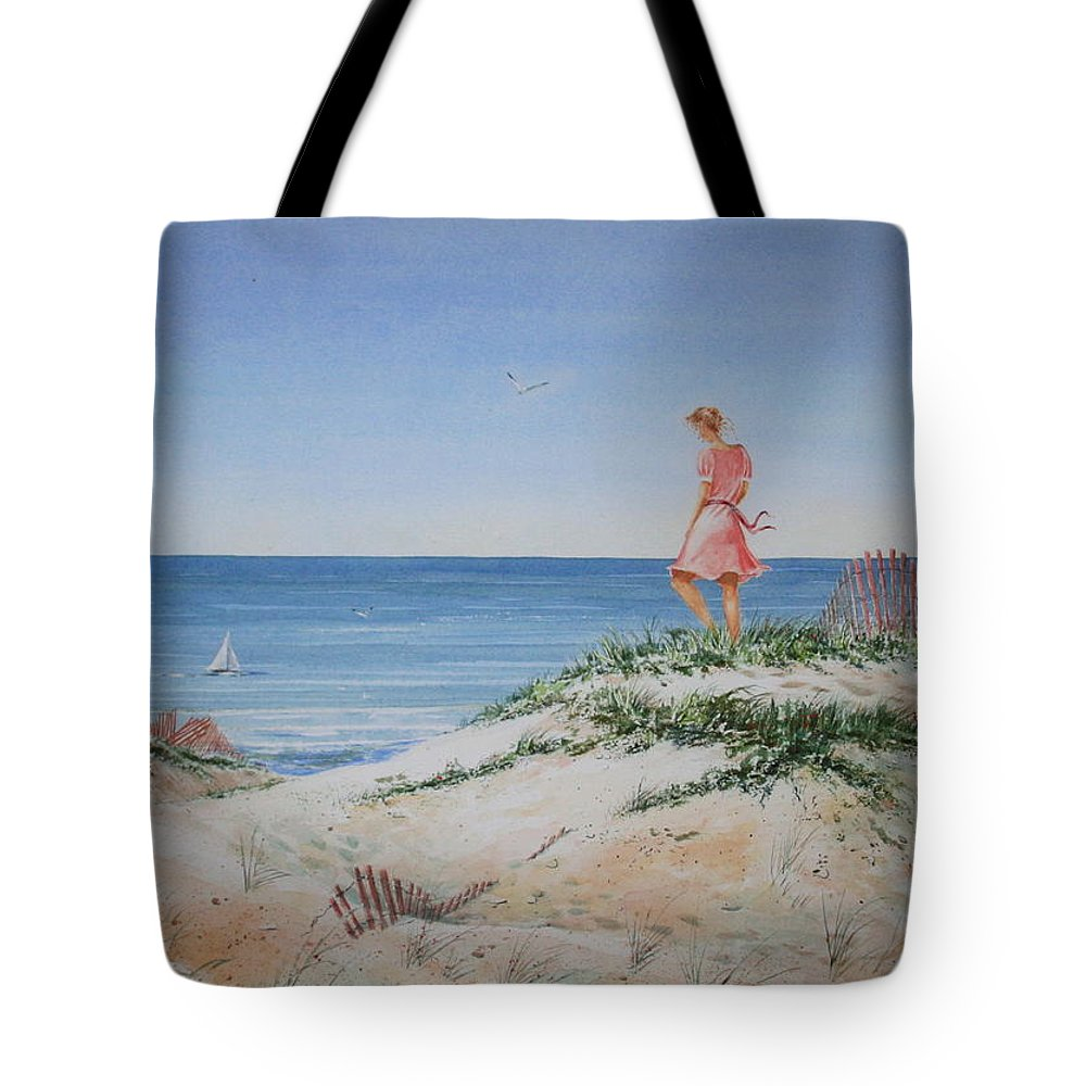 Sand Dunes Tote Bag featuring the painting Stephanie by Tom Harris