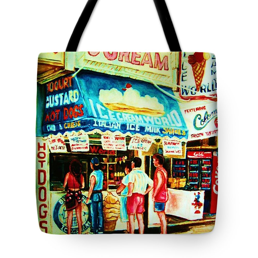 Children Tote Bag featuring the painting Stephanies Icecream Stand by Carole Spandau
