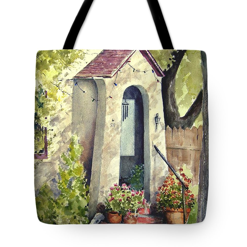 Door Tote Bag featuring the painting Stephanie's Porch by Sam Sidders