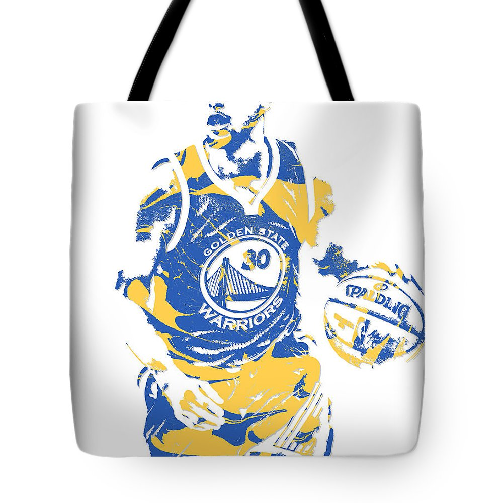 Stephen Curry Tote Bag featuring the mixed media Stephen Curry Golden State Warriors Pixel Art 21 by Joe Hamilton