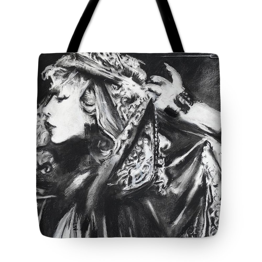 Stevie Nicks Tote Bag featuring the painting Stephie Lynn's Not My Lover by Eric Dee
