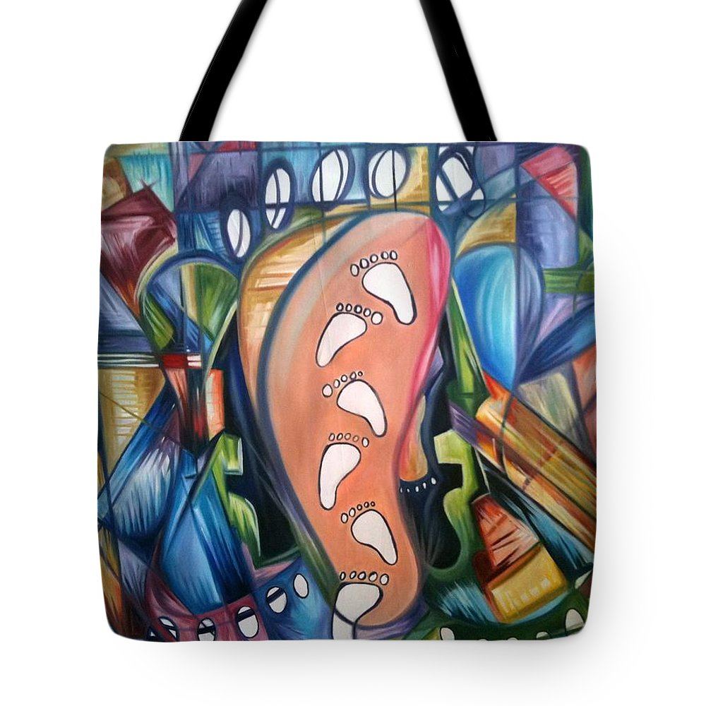 Abstract Tote Bag featuring the painting Stepping Into The Future by Olaoluwa Smith