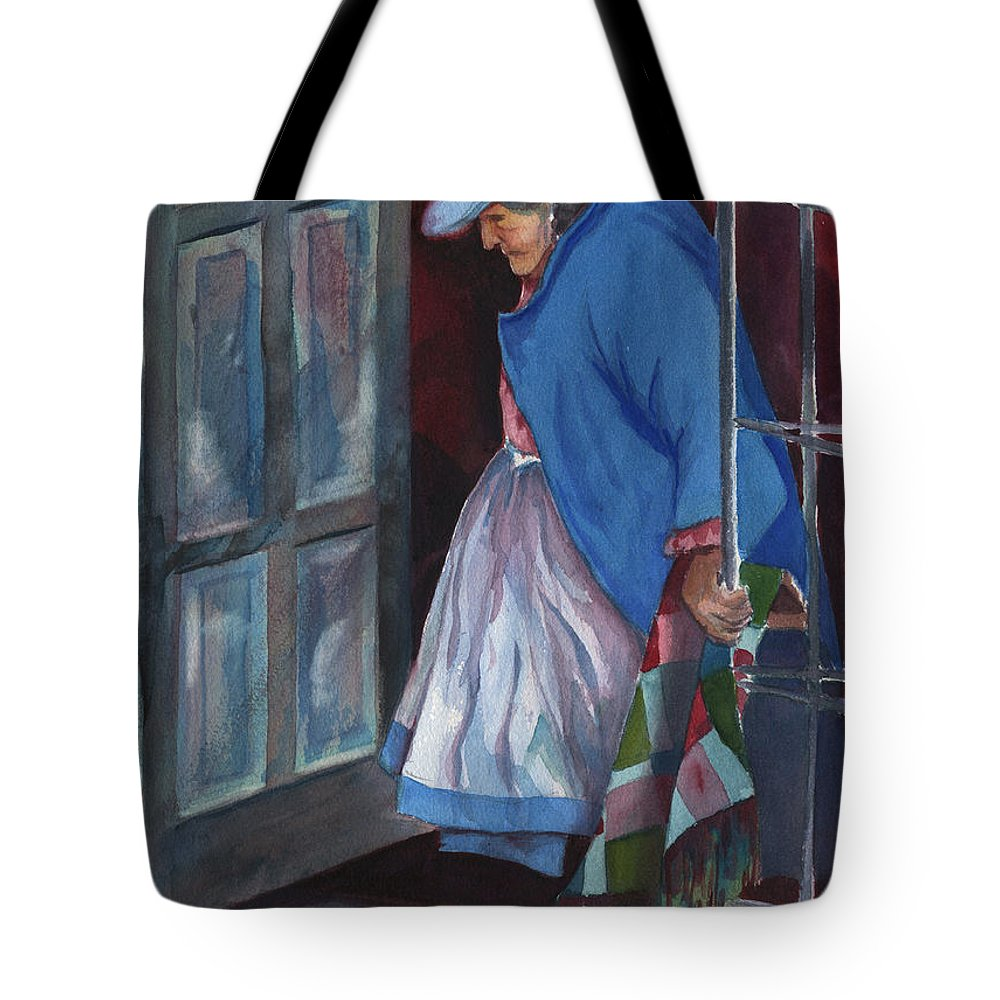 Peru Tote Bag featuring the painting Stepping Out by Marsha Elliott