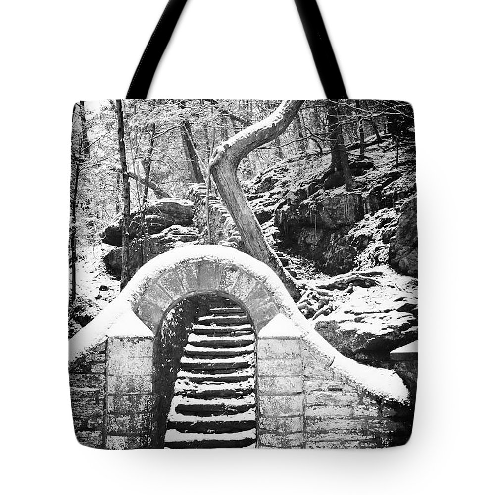 Philadelphia Tote Bag featuring the photograph Steps Along The Wissahickon by Bill Cannon