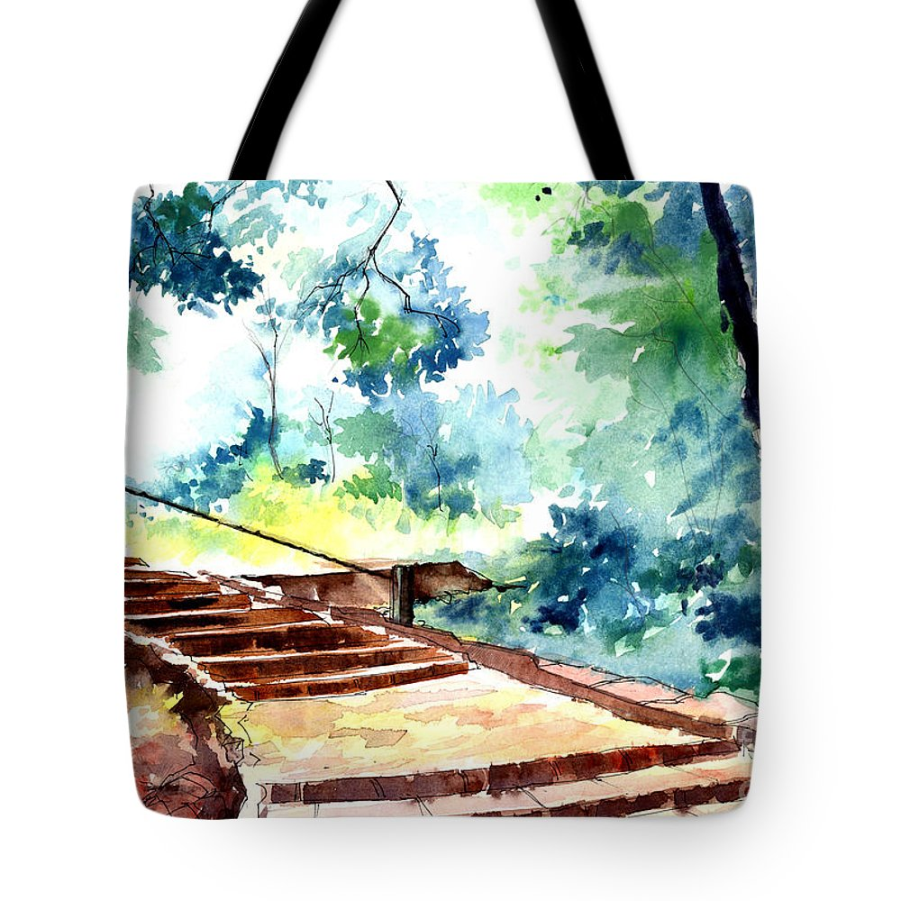 Landscape Tote Bag featuring the painting Steps To Eternity by Anil Nene