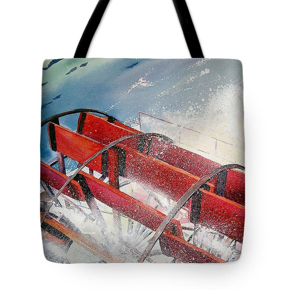 Paddlewheeler Tote Bag featuring the painting Sternwheeler Splash by Karen Stark