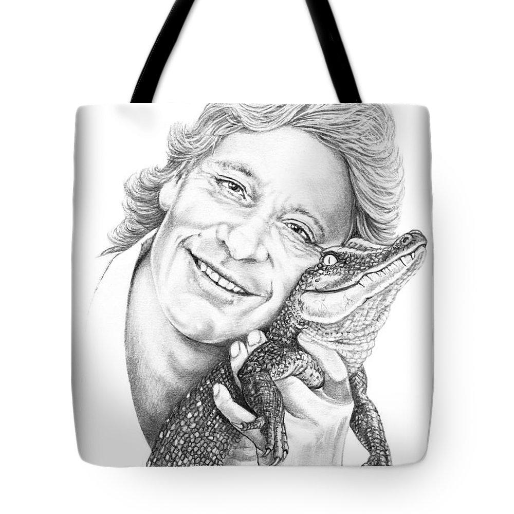 Drawing Tote Bag featuring the drawing Steve Irwin Crocodile Hunter by Murphy Elliott