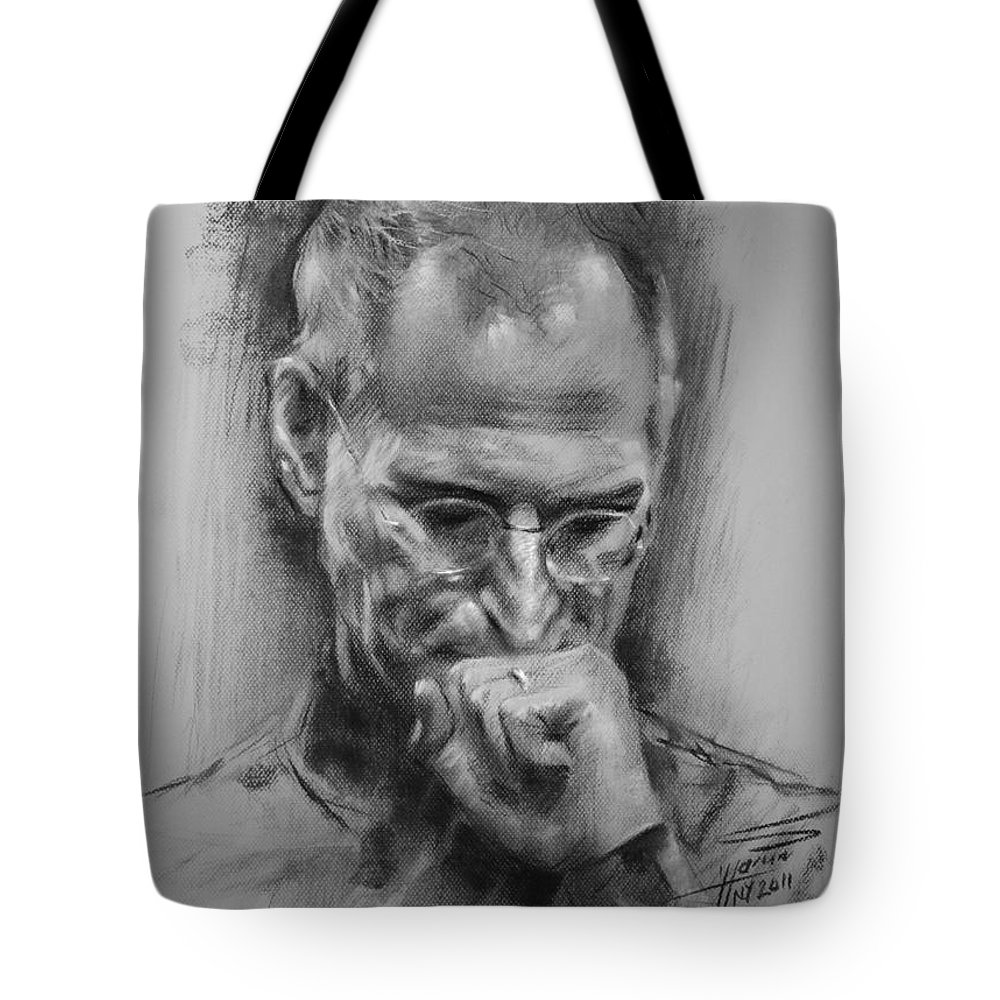 Steve Jobs Tote Bag featuring the drawing Steve Jobs by Ylli Haruni