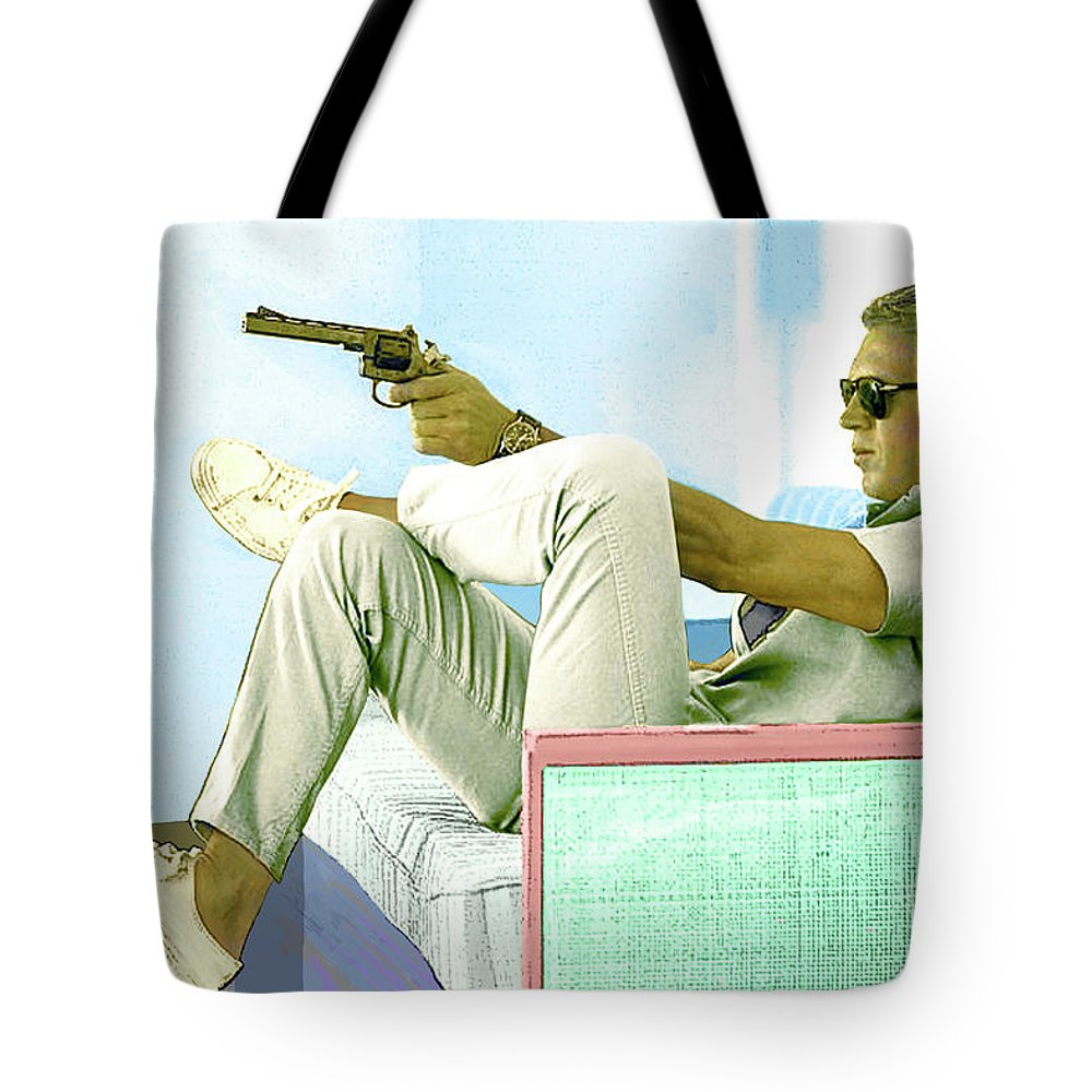 Steve Mcqueen Tote Bag featuring the mixed media Steve McQueen, Colt revolver, Palm Springs, CA by Thomas Pollart