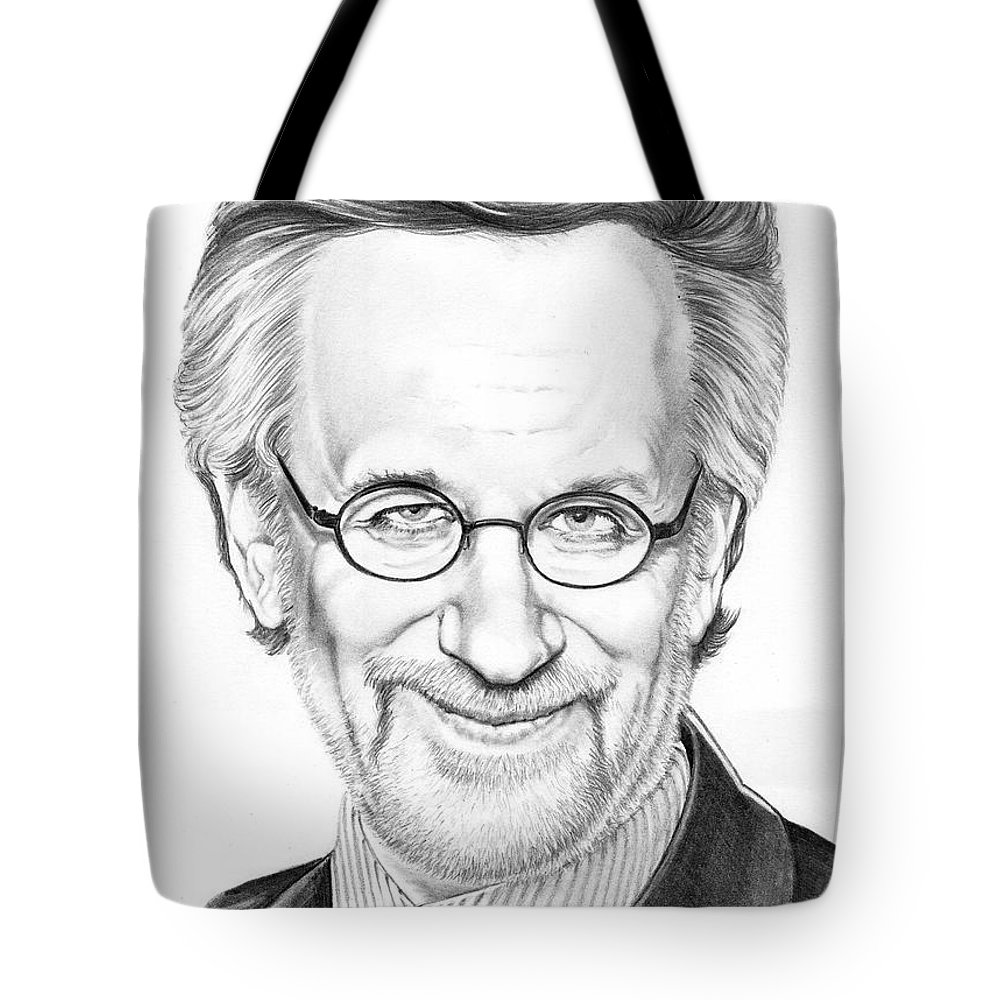 Drawing Tote Bag featuring the drawing Steven Spielberg by Murphy Elliott