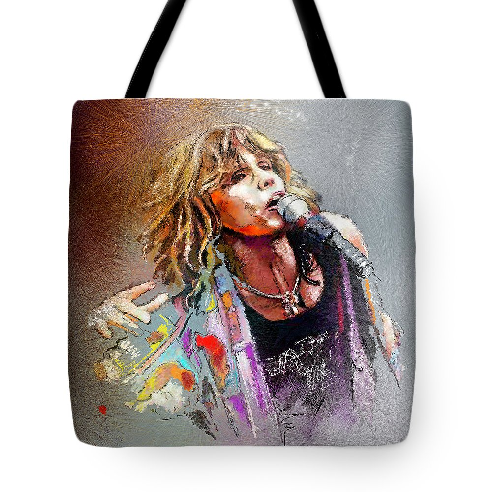 Musicians Tote Bag featuring the painting Steven Tyler 02 Aerosmith by Miki De Goodaboom
