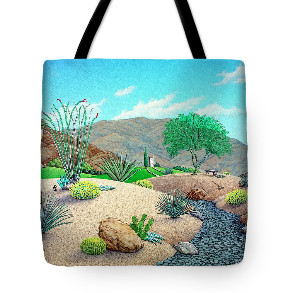 Landscape Tote Bag featuring the painting Steve's Yard by Snake Jagger