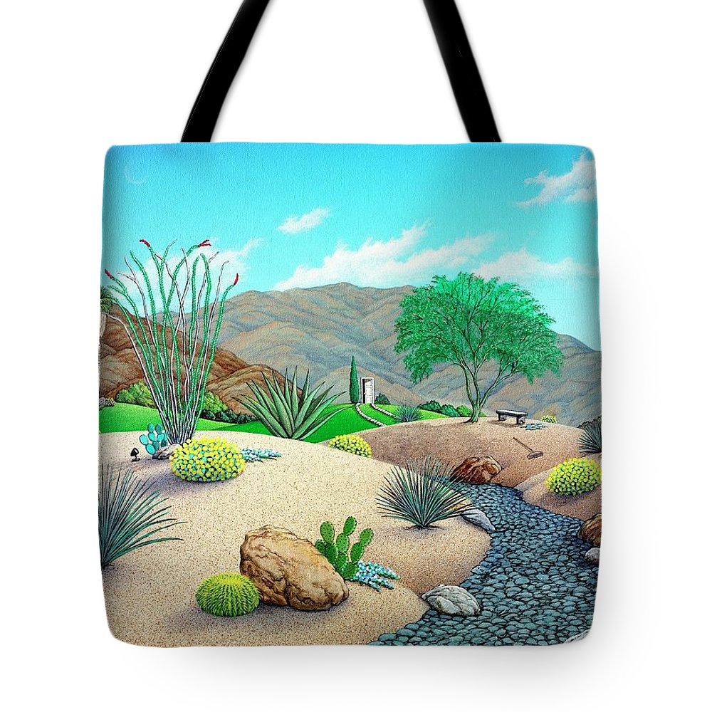 Desert Tote Bag featuring the painting Steves Yard by Snake Jagger