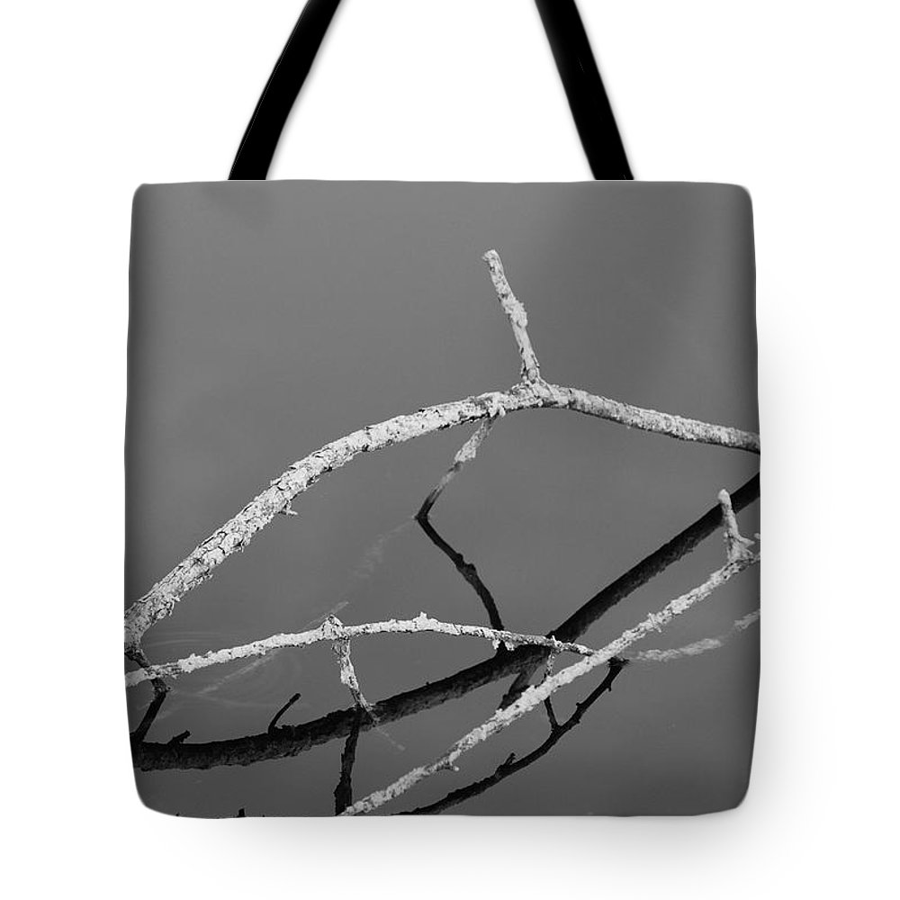 Black And White Tote Bag featuring the photograph Stick Bridge by Rob Hans