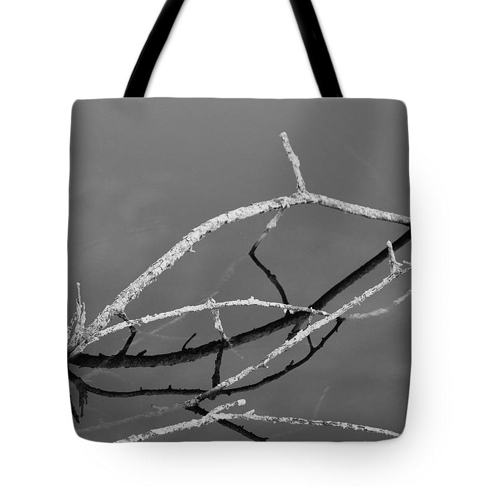 Black And White Tote Bag featuring the photograph Stick Bridges by Rob Hans