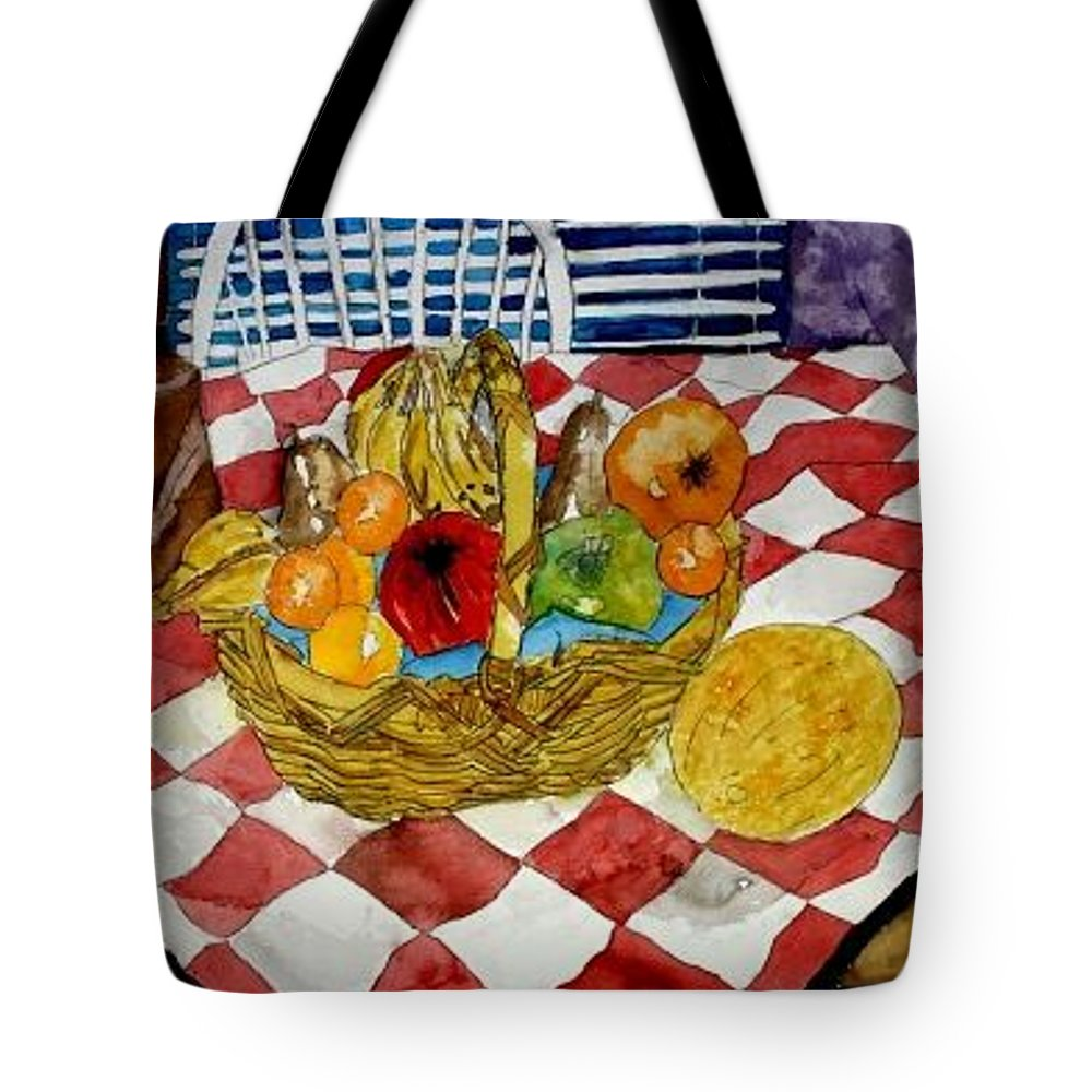 Still Life Watercolor Tote Bag featuring the painting Still Life Art Fruit Basket 3 by Derek Mccrea