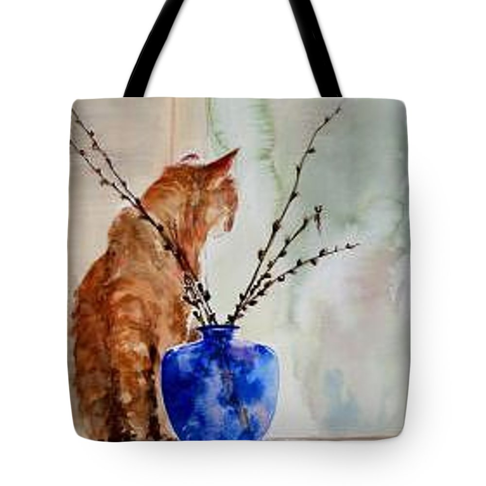 Cat Tote Bag featuring the painting Still Life by Lynee Sapere