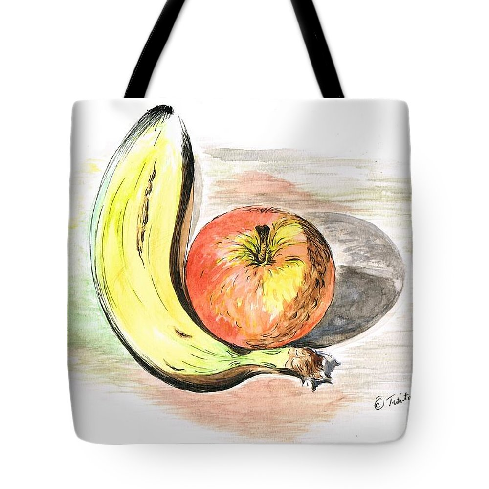 Teresawhite Tote Bag featuring the mixed media Still Life Of Apple And Banana by Teresa White
