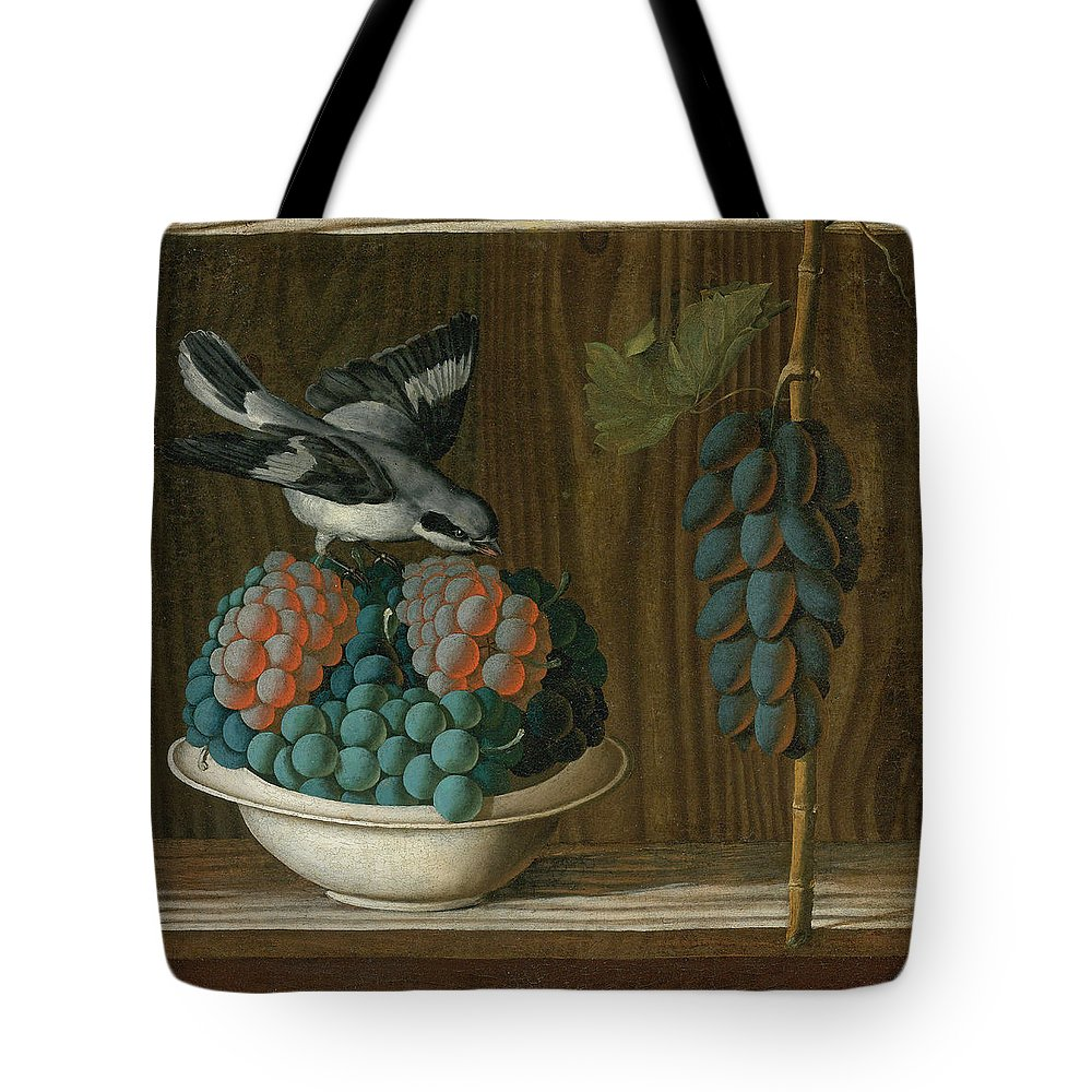 Antonio Leonelli Tote Bag featuring the painting Still Life Of Grapes With A Gray Shrike by Antonio Leonelli